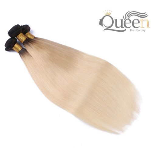 1B 613 Ombre Blonde Brazilian Straight Hair Bundles 2 Tone Dark Roots Platinum Remy Human Hair Weave