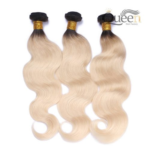 1B613 Ombre Brazilian Hair Bundles Body Wave 2 Tone Blonde Human Hair Weft