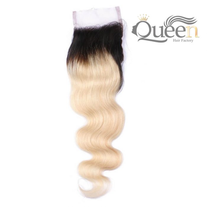 4-4 Swiss Lace Ombre Blonde 1b-613 Brazilian Straight Lace Closure Brazilian Remy Hair