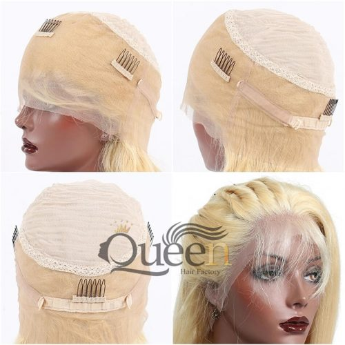 613 Blonde 360 Lace Wig Pre Plucked Brazilian Virgin Human Hair Wig Short Bob Wig