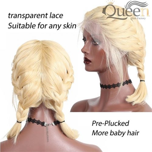 613 Blonde Lace Frontal Wig Pre Plucked Brazilian Virgin Human Hair Wig Short