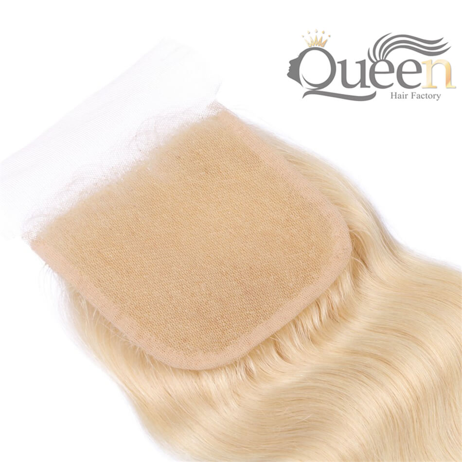 Blonde 613 Brazilian Body Wave Lace Closure Pre-Plucked Remy Hair Extensions Swiss Lace