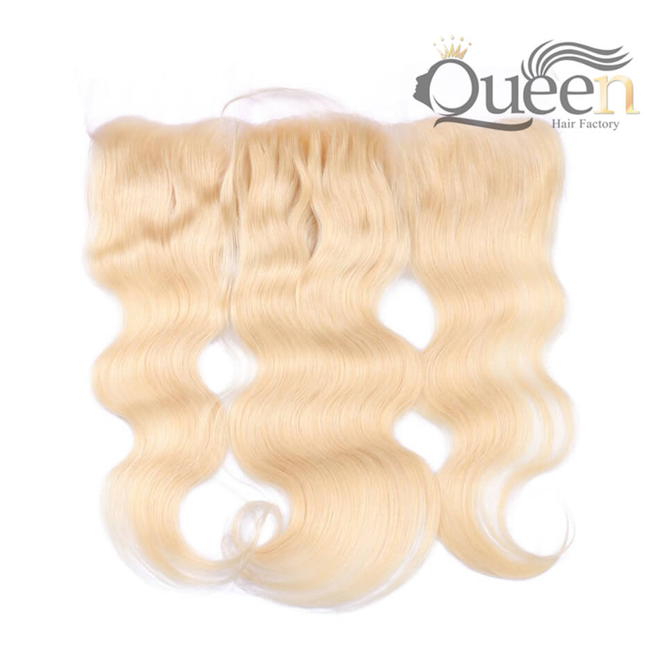 Blonde 613 Brazilian Body Wave Lace Frontal Pre-Plucked Remy Hair Extensions Swiss Lace