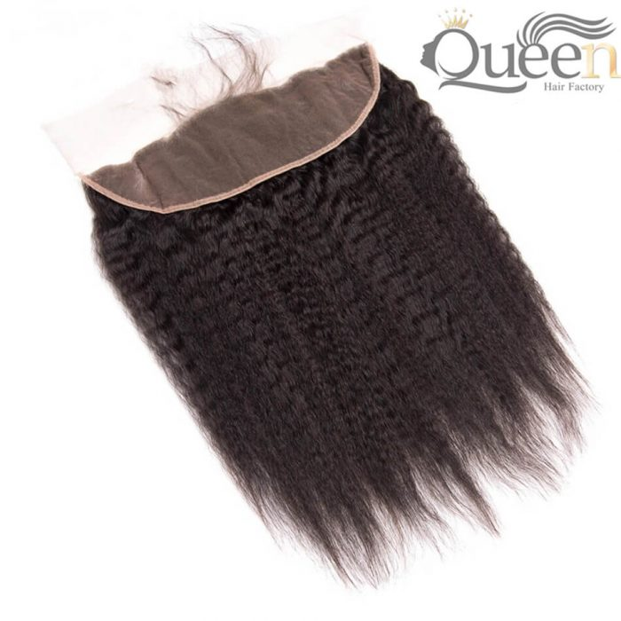 Brazilian Free Middle Three Part Kinky Straight Human Hair Lace Frontal Remy Hair