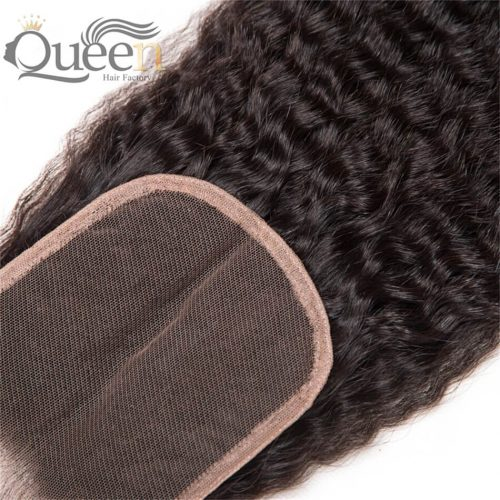 Brazilian Free Middle Three Part Kinky Straight Human Hair Lace Closure Remy Hair