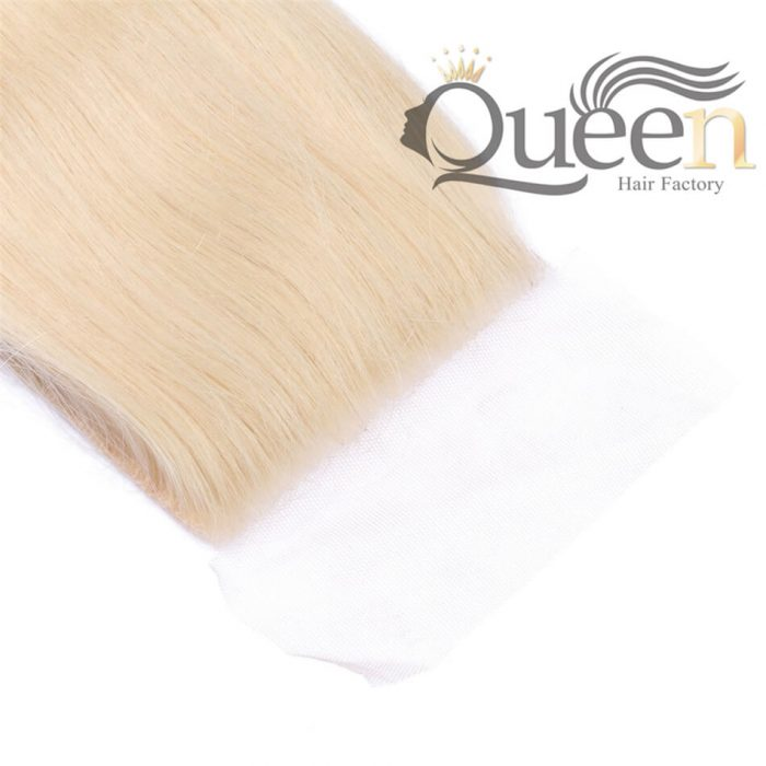 Brazilian Human Hair Blonde 613 Straight Lace Closure With Baby Hair Hand Tied