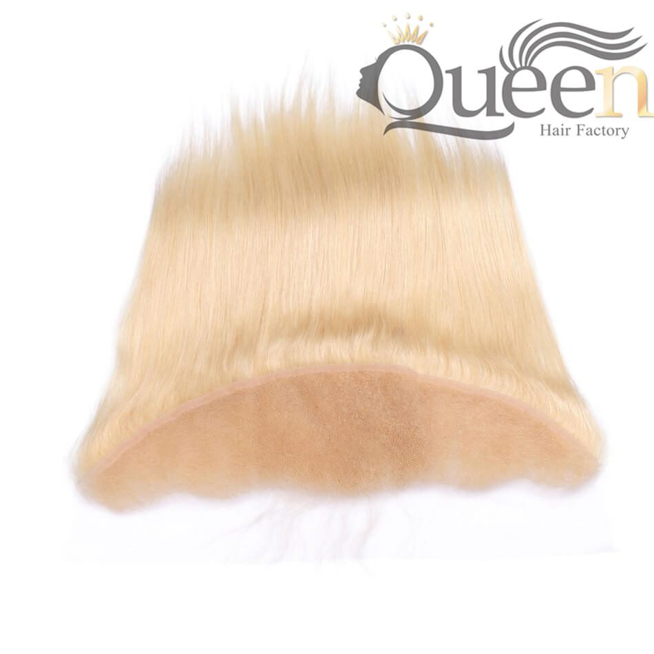 Brazilian Human Hair Blonde 613 Straight Lace Frontal With Baby Hair Hand Tied