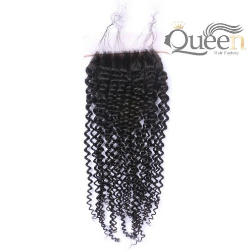 Brazilian Kinky Curly Lace Closure Natural Color Virgin Human Hair Extensions 4-4