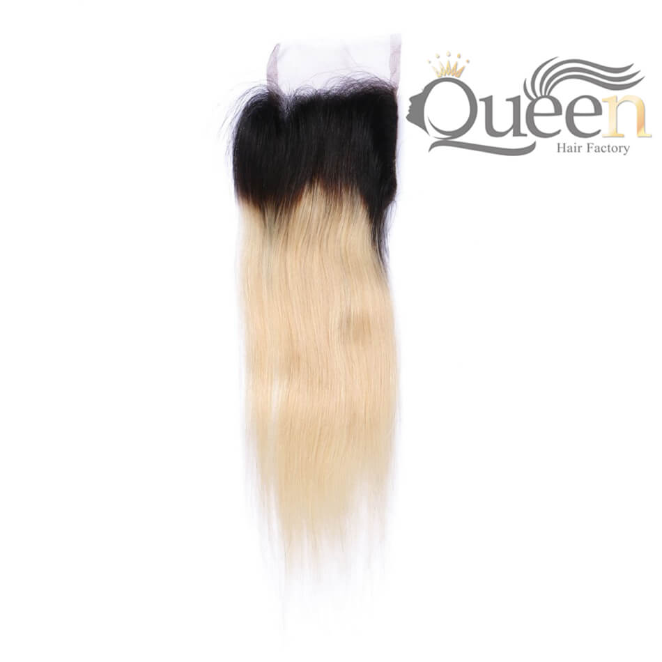 Brazilian Ombre Blonde 1b-613 Straight Lace Closure Remy Human Hair With Baby Hair