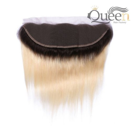 Brazilian Ombre Dark Root Blonde Straight Lace Frontal Remy Human Hair With Baby Hair