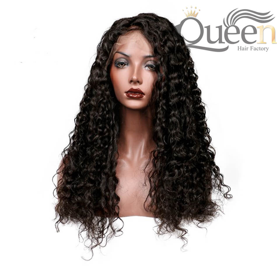 Deep Curly Human Hair Wig With Baby Hair Bleached Knots Brazilian 360 Lace Wig