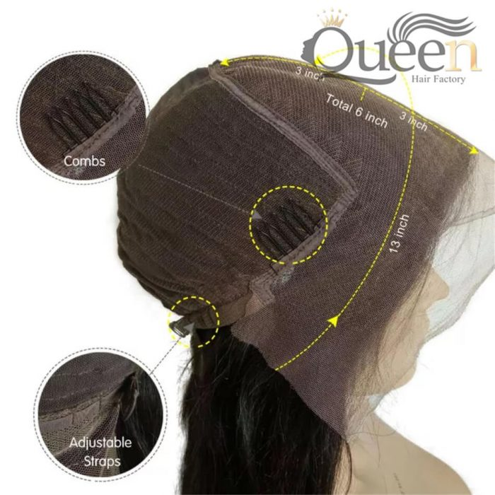 Glueless 13 6 Lace Frontal Human Hair Wig Brazilian Straight Human Remy Wig Pre Plucked