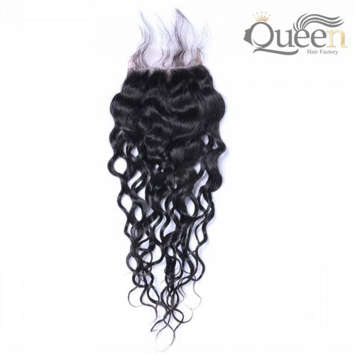 Indian Natural Wave With Baby Hair 4 4 Human Hair Swiss Lace Closure Bleached Knots