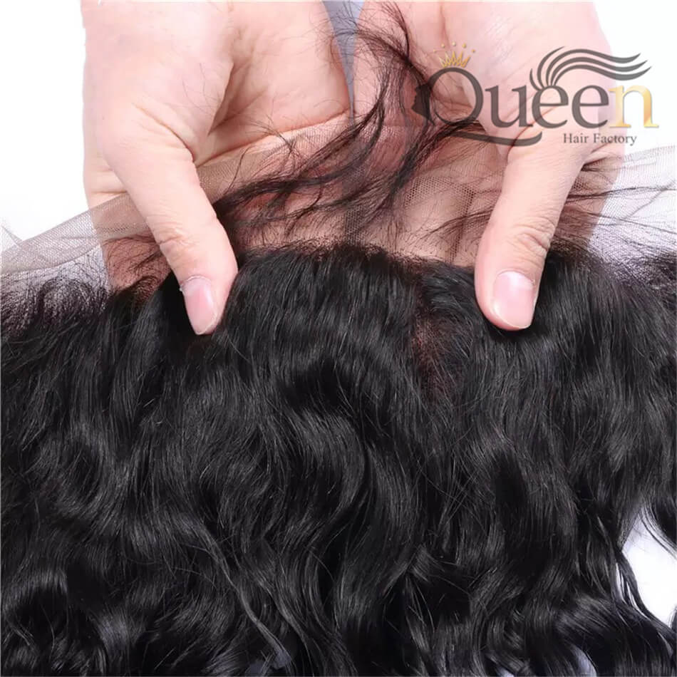 Indian Water Wave Lace Frontal 100% Human Hair Swiss Remy Hair Frontal 10-20 Inch
