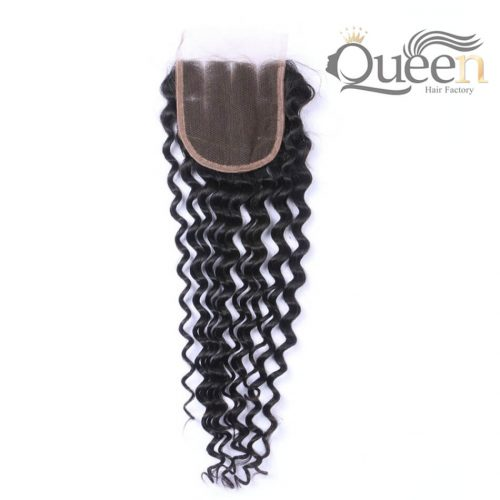 Italian Curly Brazilian Virgin Human Hair 44 Lace Closure Natural Color
