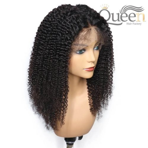 Kinky Curly 13 4 Lace Frontal Wig With Baby Hair Pre Plucked Brazilian Human Hair Wig