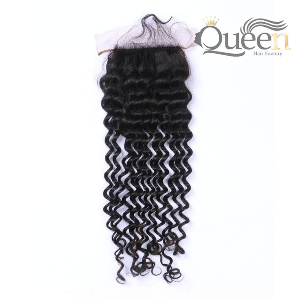 Malaysian Deep Curly Lace Closure Bleached Knots 4 4 Swiss Lace 100% Human Hair