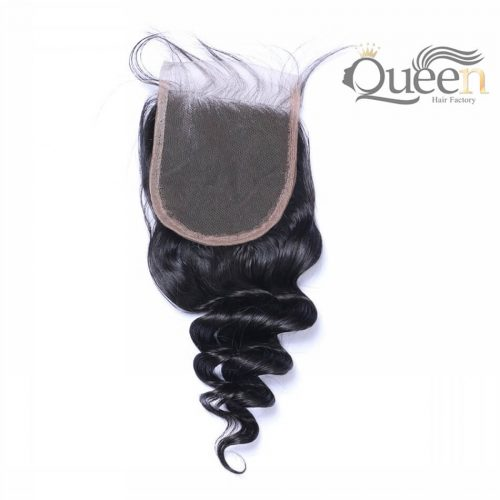 Mongolian 100% Human Hair Loose Wave 10-20 inch 4 4 Lace Closure Natural Color