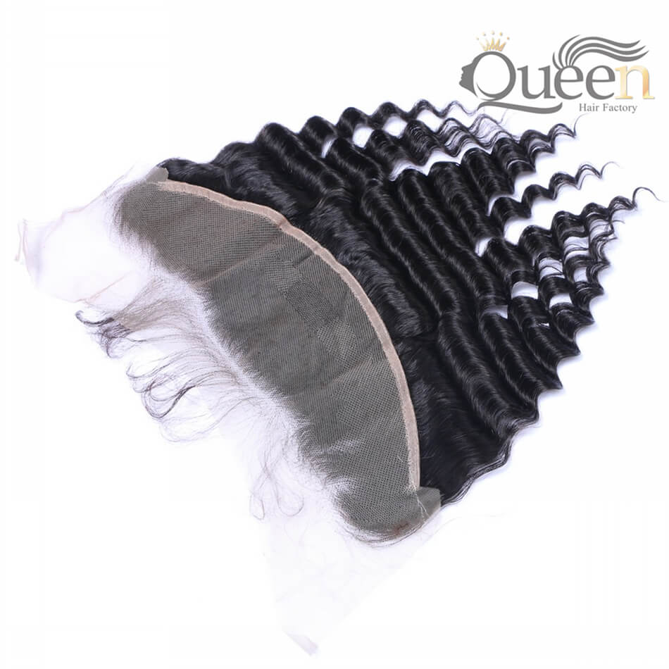 Peruvian Deep Wave 13 4 Lace Frontal Human Hair Extensions Natural Color