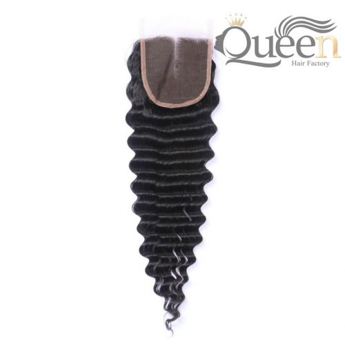 Peruvian Deep Wave 4 4 Lace Closure Human Hair Extensions Natural Color