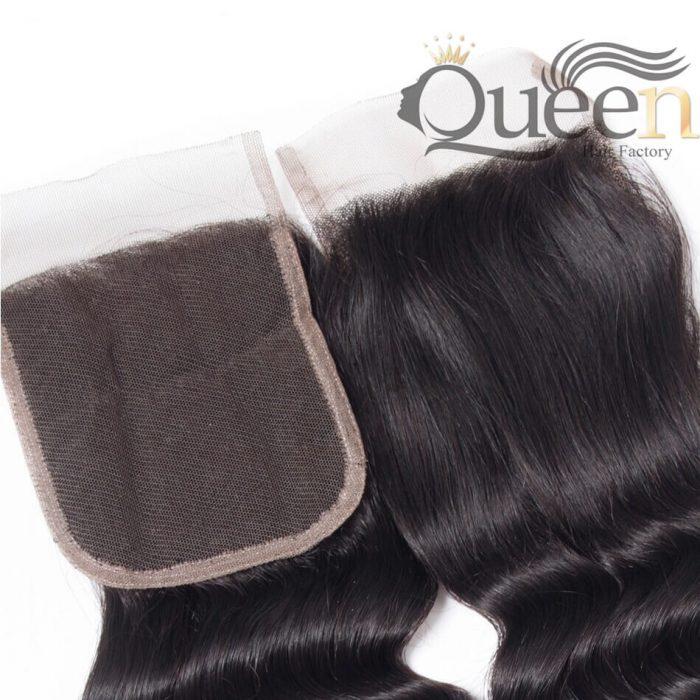 Peruvian Loose Curly Lace Closure With Baby Hair 4 4 Human Hair Swiss Lace Closure