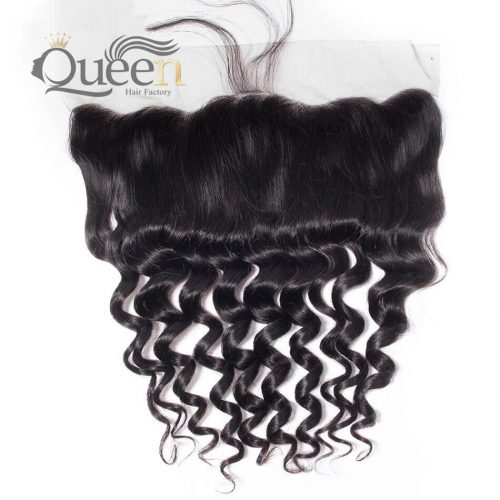 Peruvian Loose Curly Lace Frontal With Baby Hair 4 4 Human Hair Swiss Lace Frontal
