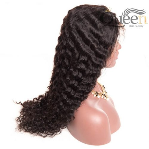 Pre Plucked 13 6 Lace Frontal Human Hair Wig Brazilian Deep Wave for Women Black