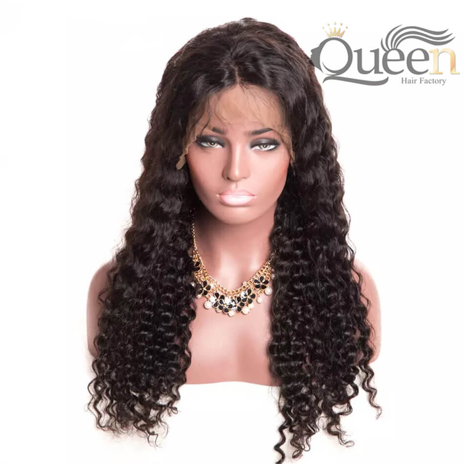 Pre Plucked 360 Lace Wig Human Hair Wig Brazilian Deep Wave for Women Black