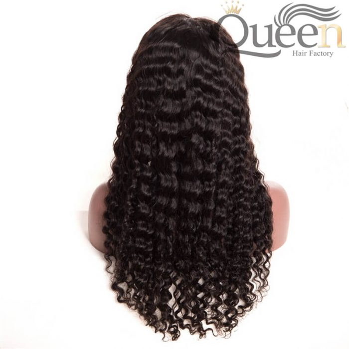 Pre Plucked Full Lace Human Hair Wig Brazilian Deep Wave for Women Black
