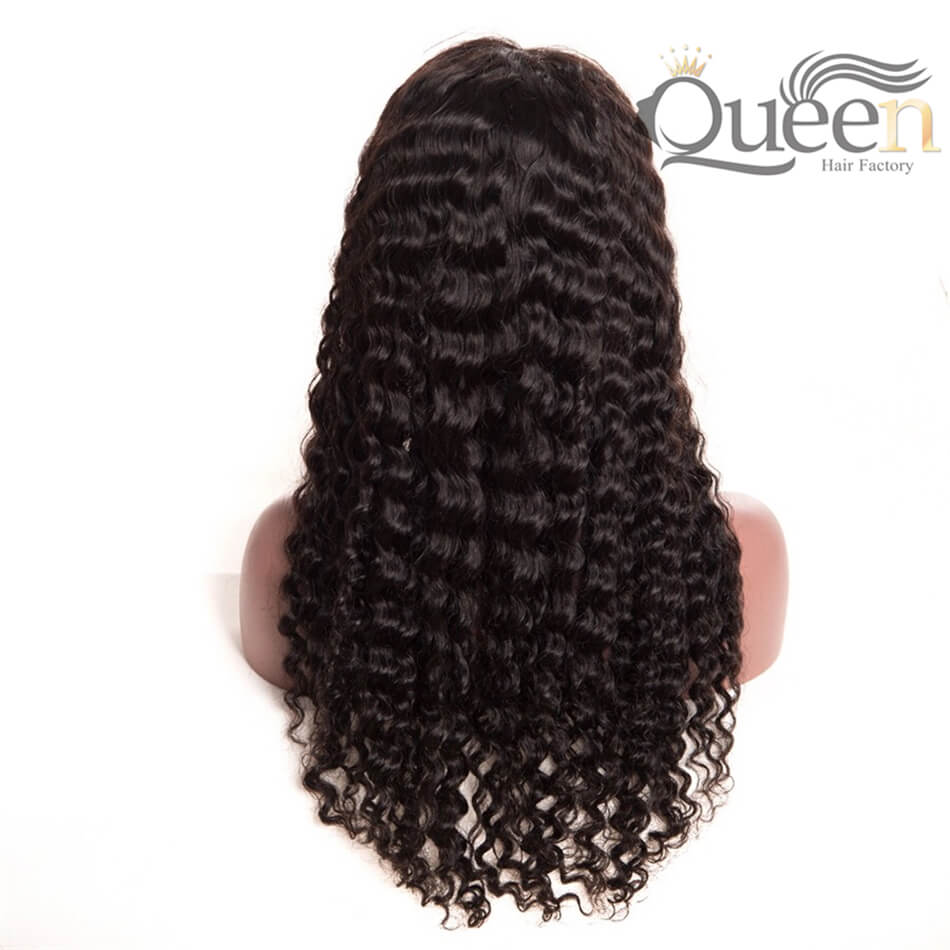 Pre Plucked Lace Frontal Human Hair Wig Brazilian Deep Wave for Women Black